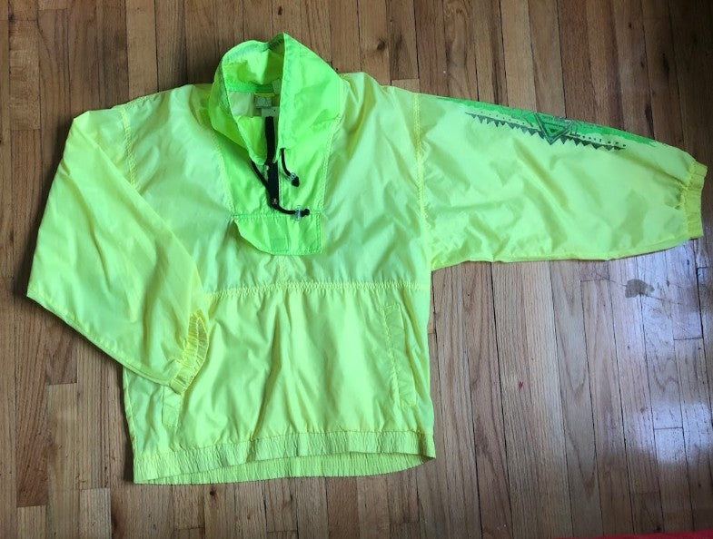 2-Toned Lime Green Windbreaker Pullover M