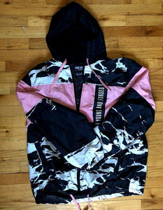 Black, White, Pink Pullover Windbreaker XL