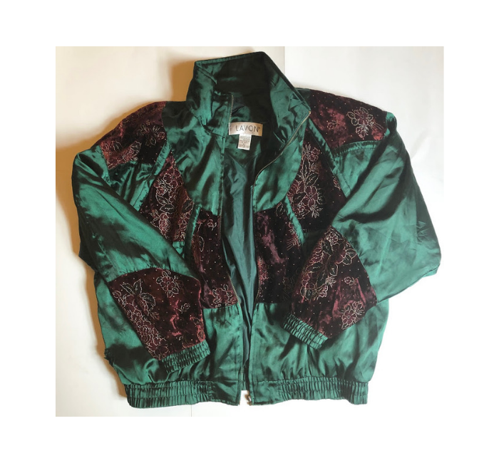 Green + Burgundy Vintage Windbreaker L