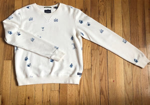 White & Blue Graphic Sweatshirt M