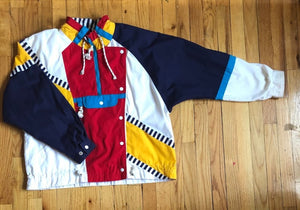 White Multicolored Retro Jacket L