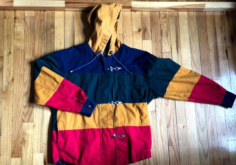 Block Colored Toggle Fireman Jacket S
