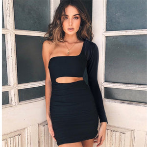One Shoulder Backless Bodycon Dress