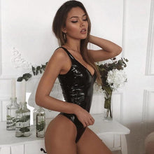 Load image into Gallery viewer, Ellolace Leather Black Bodysuit