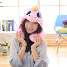 Load image into Gallery viewer, Cute Cartoon Unicorn Plush Travel Pillow