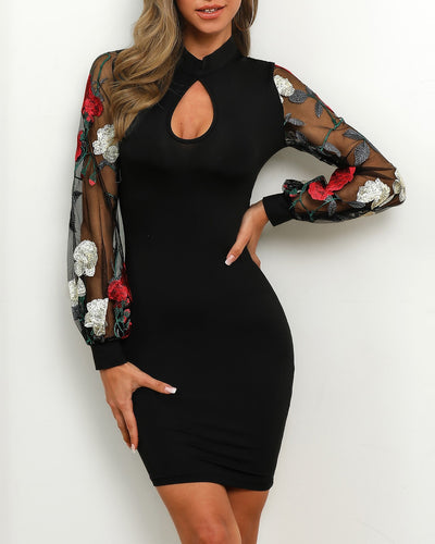 Floral Mesh Sleeve Bodycon Dress