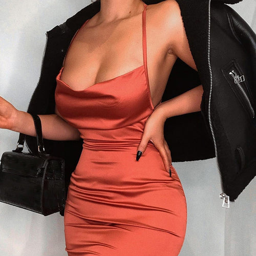 Satin Bodycon Backless Dress