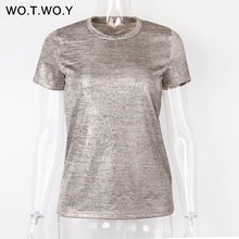 Load image into Gallery viewer, Silver Shiny Lurex Knitted T Shirts