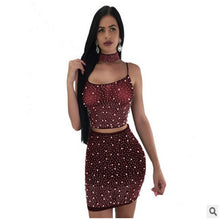 Load image into Gallery viewer, 3pcs Women Bodycon Crop Top +Skirt+Choker Set