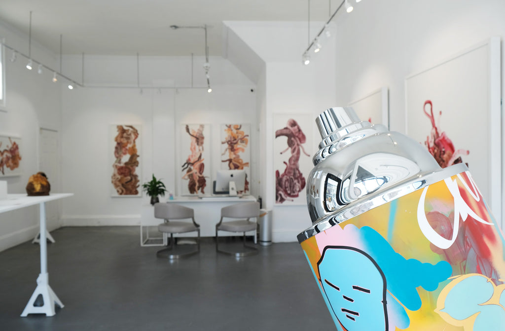 """Gale Hart's """"Sic"""" solo exhibition of abstract paintings and bronze and sculptures is showing at Voss Gallery in San Francisco March 2021"""