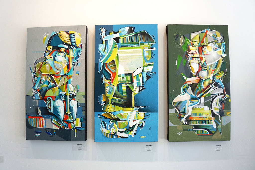 "John Osgood ""In Plain Sight"" Exhibition at Voss Gallery San Francisco - Triptych of 3 Street Art Paintings"