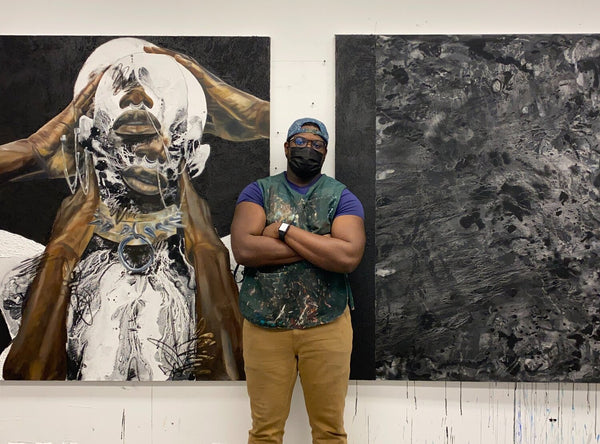 """Khari Turner's """"Hella Water"""" solo exhibition of figurative abstract paintings is showing at Voss Gallery in San Francisco, May 21-June 19, 2021."""