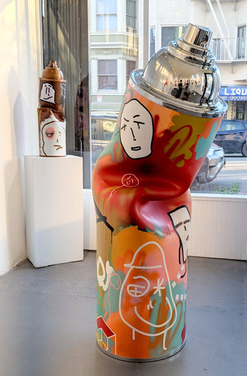 Gale Hart's 5.5ft Steel Spray Paint Can Sculpture is available at Voss Gallery, San Francisco for $8,000.