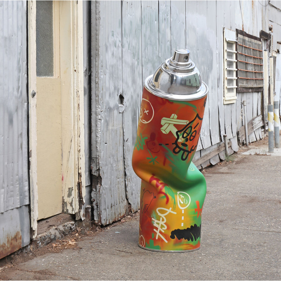 Gale Hart Life-size Aluminum Spray Paint Can Sculptures available at Voss Gallery, San Francisco
