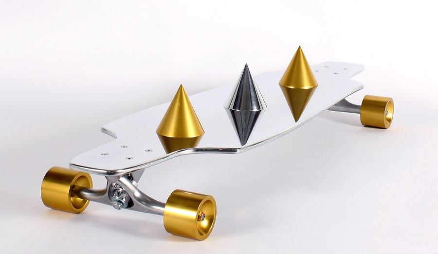 Gale Hart Life-size Aluminum and Chrome Skateboard Sculpture