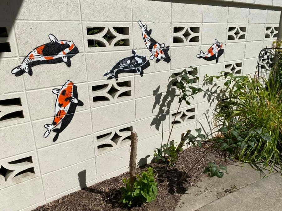 Commission your own unique stencil street koi art by Jeremy Novy inside or outside of your home or business! Must be located in San Francisco.