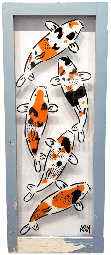 Jeremy Novy Koi Stencil on Window titled