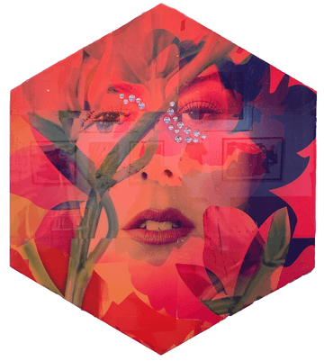 Marley Sutter's resin art of a floral female photograph art