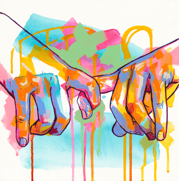 The Tracy Piper's original acrylic portrait of two hands pinky promising,