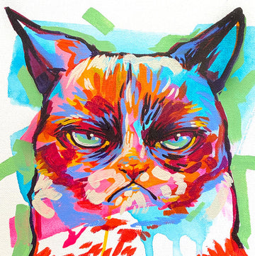 The Tracy Piper's pop art painting of a popular grumy cat meme