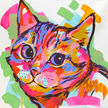 The Tracy Piper's colorful painting of a cute cat