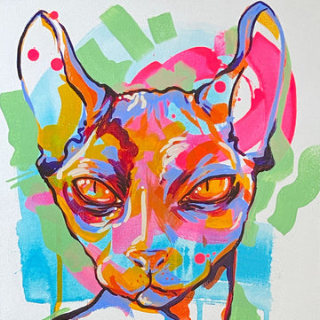 The Tracy Piper's colorful painting of a hairless cat