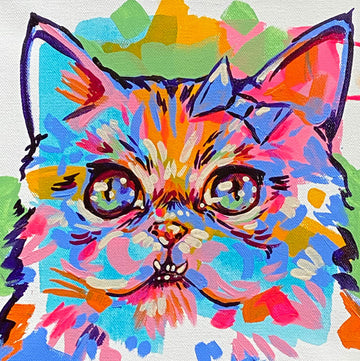 The Tracy Piper's colorful painting of a fluffy cat with a bow