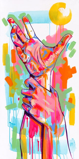 The Tracy Piper's original acrylic painting of a hand reaching