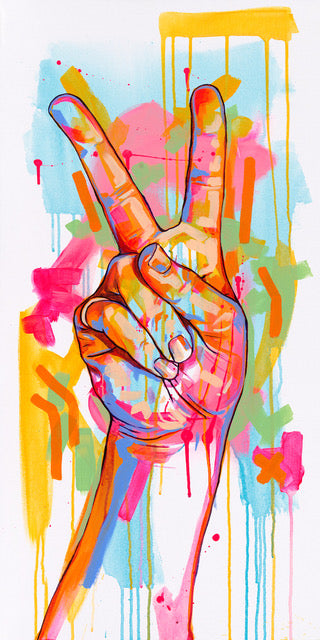 The Tracy Piper's original acrylic painting of a hand gesturing the peace symbol