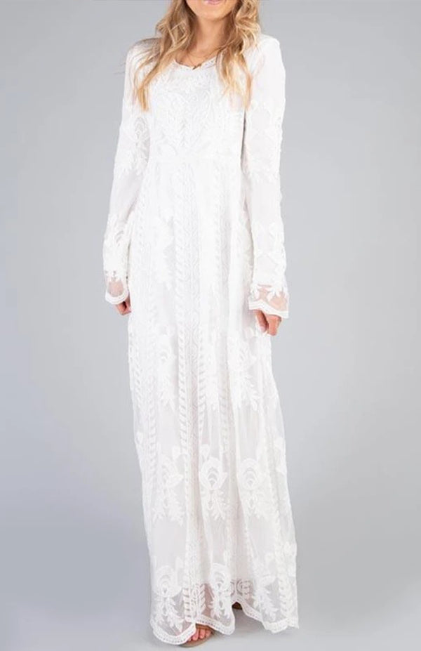 Pure Round Neck Lace Long Sleeve Dress
