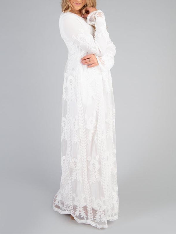 Pure Round Neck Lace Long Sleeve Dress - OrTrend