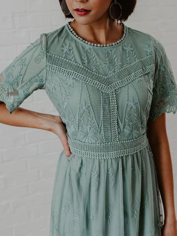 Pure Lace Printed Crew Neck Dress
