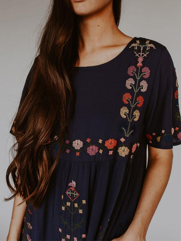 Summer Printed Crew Neck Dress