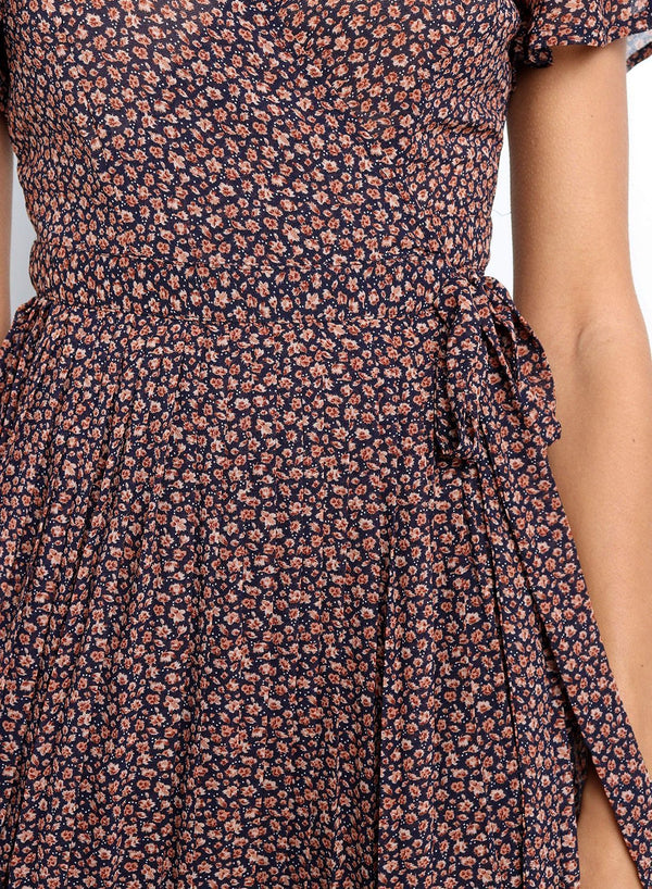 V Neck Floral Pleated Wrap Midi Dress
