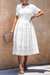 Crochet Lace Pocketed White Midi Dress