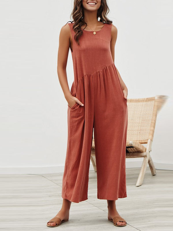 Casual Sleeveless Open Back Loose Style Jumpsuits