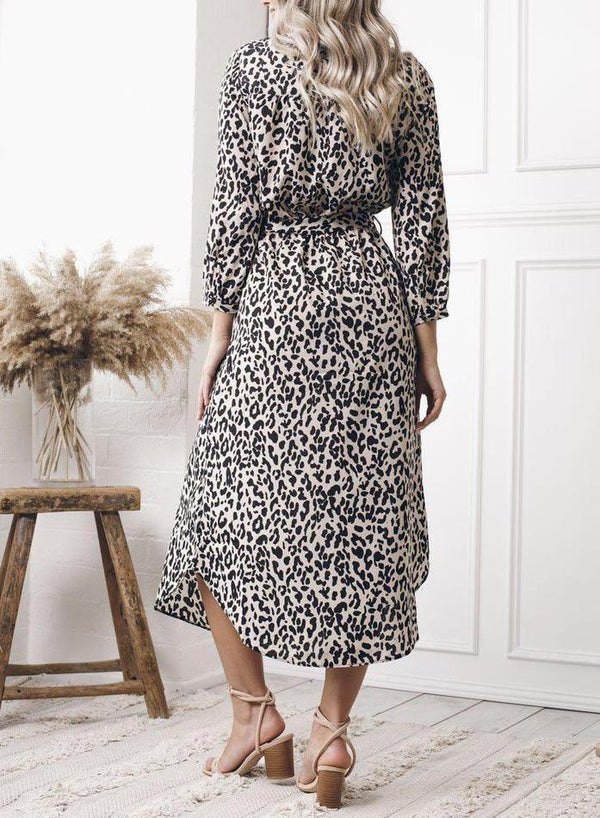 Beige And Black Leopard Print Long Dress