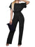Short Sleeve Casual Loose Fit Long Pant Jumpsuits Romper with Belt