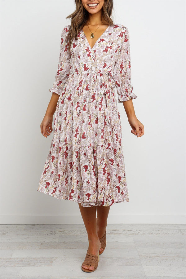 Short Sleeves Floral Print Partially Lined Ivory Wrap Midi Dress
