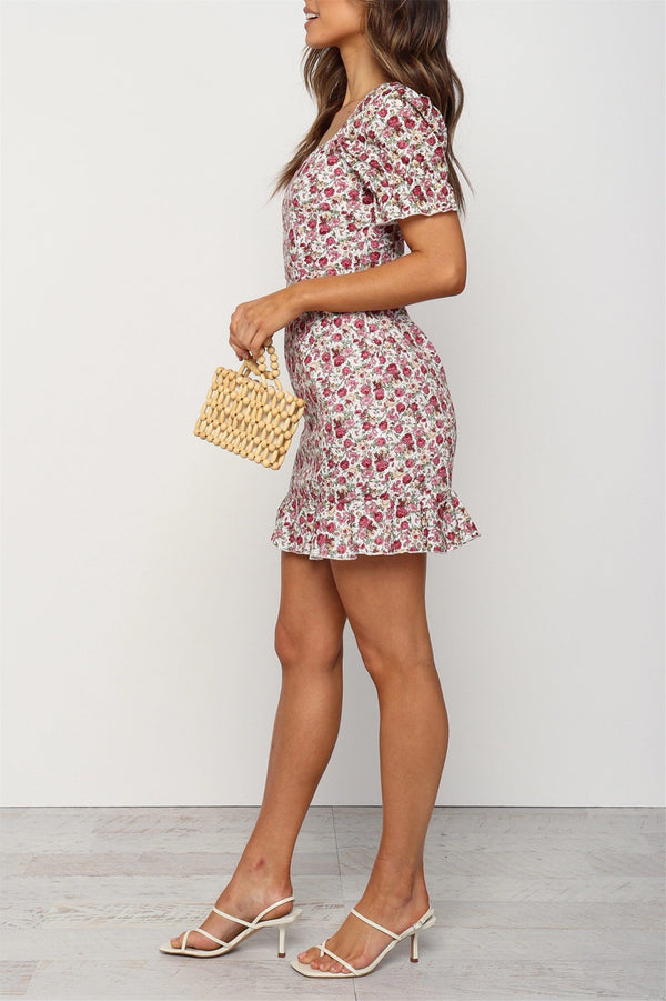Short Sleeves Floral Print Pink Dress