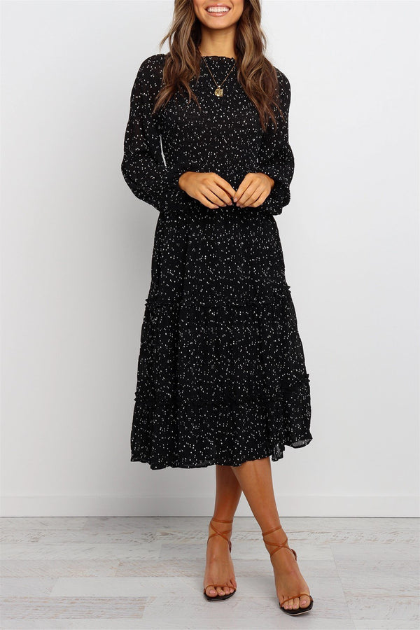 Polka Dot Long Sleeves Midi Black Dress