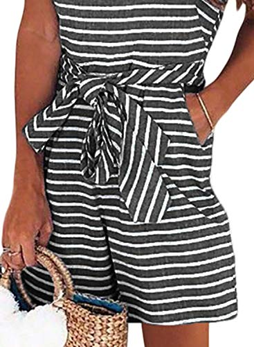 Striped Sleeveless Back Zipper Wide Short Pants Rompers