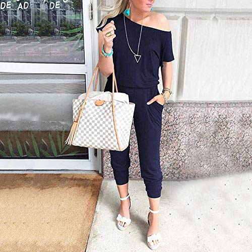 Summer Casual Off Shoulder Short Sleeve Loose Jumpsuit Rompers with Pockets