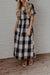 Linen Plaid Zipper Maxi Dress
