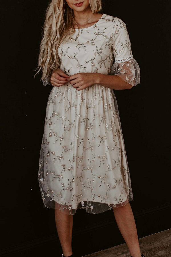 Lace Mesh Embroidery Floral Midi Dress