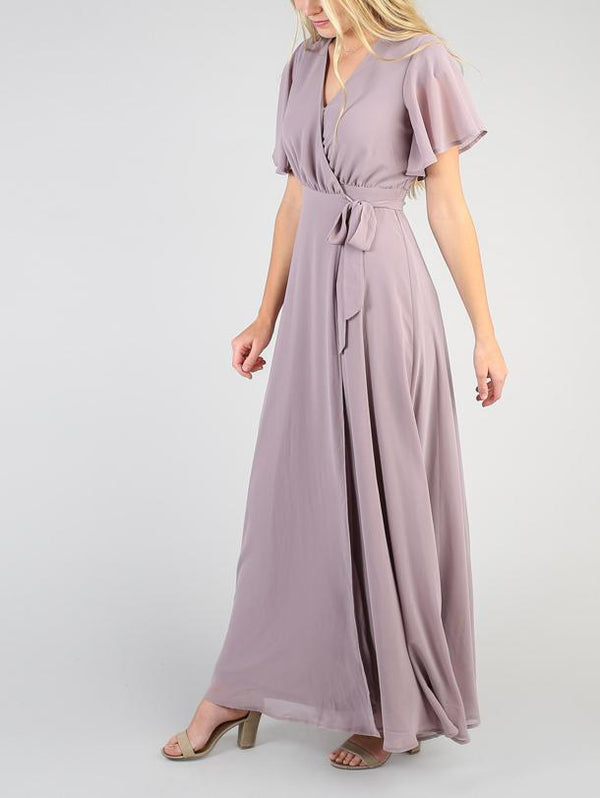 Flutter Sleeve Wrap Maxi Dress Variable- OrTrend