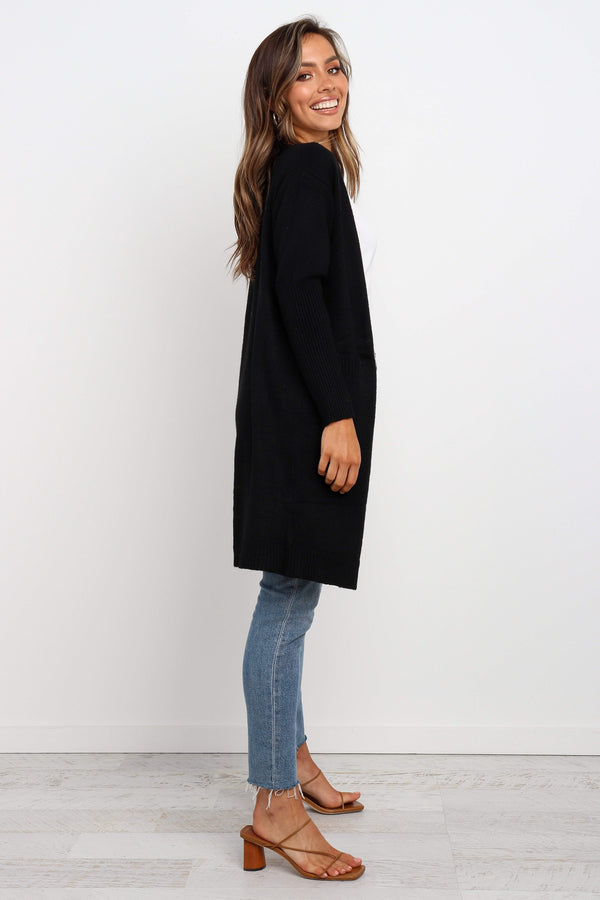 Black Front Pockets Cardigan