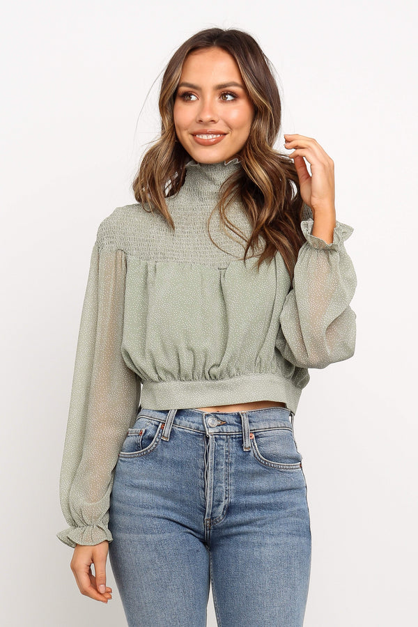 Green Long Sleeves With Elasticised Cuff Top