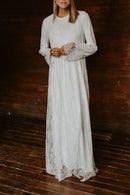 Pure Round Neck Lace Full Sleeve Maxi Dress