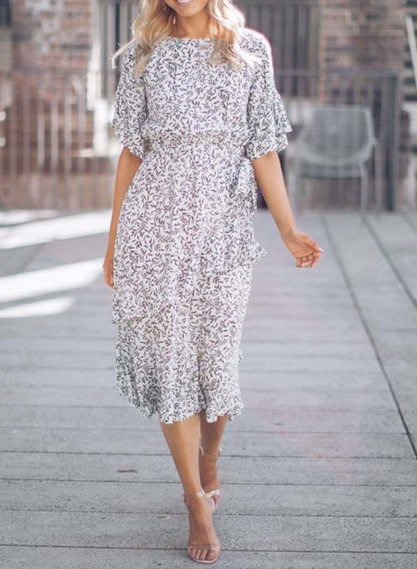 Round Neck Ruffled Sleeves Floral Dress